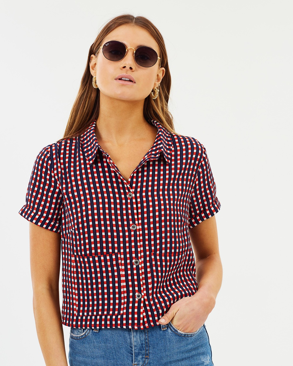 Dazie Great Divisions Cropped Shirt Cropped tops Red & Navy Check Great Divisions Cropped Shirt