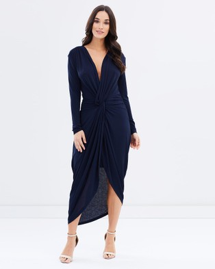 3rd Love – Angelic Knotted Midi Dress – Dresses (Navy)