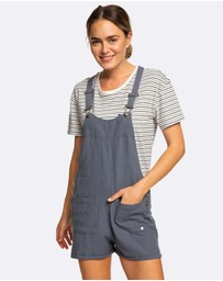 Roxy - Womens Compass Direction Linen Dungaree Shorts