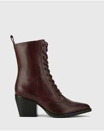 Wittner - Kallie Lace Up Block Heel Ankle Boots