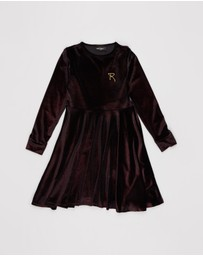 Rock Your Kid - Velvet LS Waisted Dress - Kids