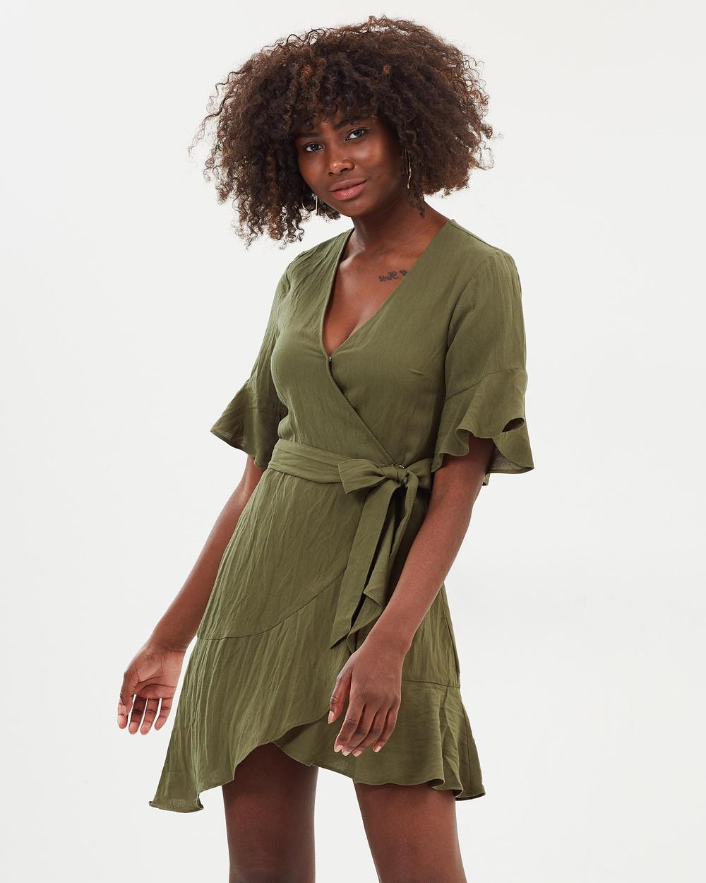 Atmos & Here ICONIC EXCLUSIVE Alexandria Wrap Dress Dresses Khaki ICONIC EXCLUSIVE Alexandria Wrap Dress