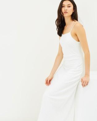 Friend of Audrey – Simone Striped Slip Dress White Stripes