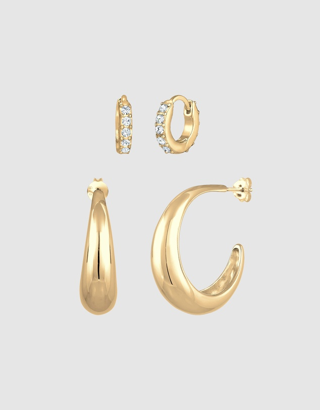 Women Earrings Creole Set Classic Crystals in 925 Sterling Silver Gold Plated