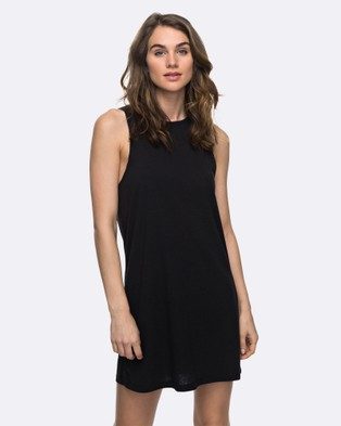 Roxy – Womens Just Simple Solid Tank Dress – Swimwear Anthracite