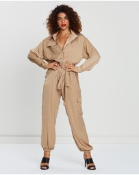 Missguided Petite - Satin Belted Utility Jumpsuit