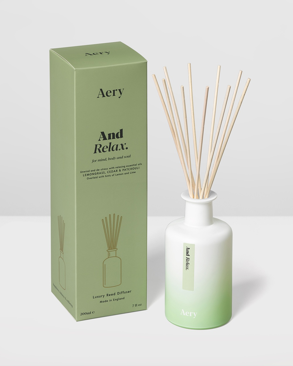 Aery Living Aromatherapy 200ml Reed Diffuser Diffusers Green