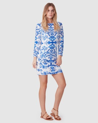 TORANNCE Crete Silk Basic Dress - Printed Dresses (Blue and White Print)