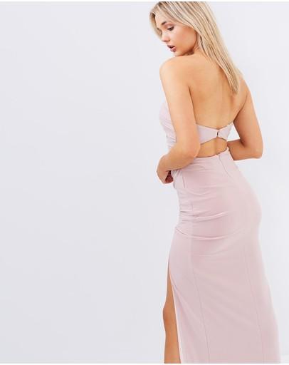 Skiva Strapless Evening Dress With Split Latte