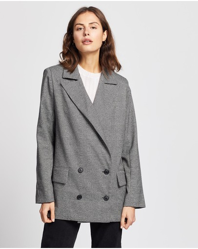 Wish The Label Theory Blazer Black & Grey Check Print