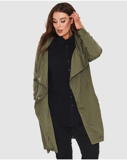 17 Sundays Zero Hooded Drape Jacket Deep Green