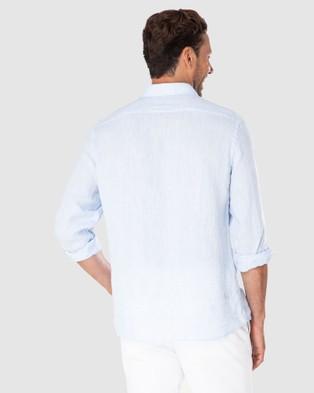 Gazman Tailored Fit Linen Plain Long Sleeve Shirt - Shirts & Polos (Sky Blue)