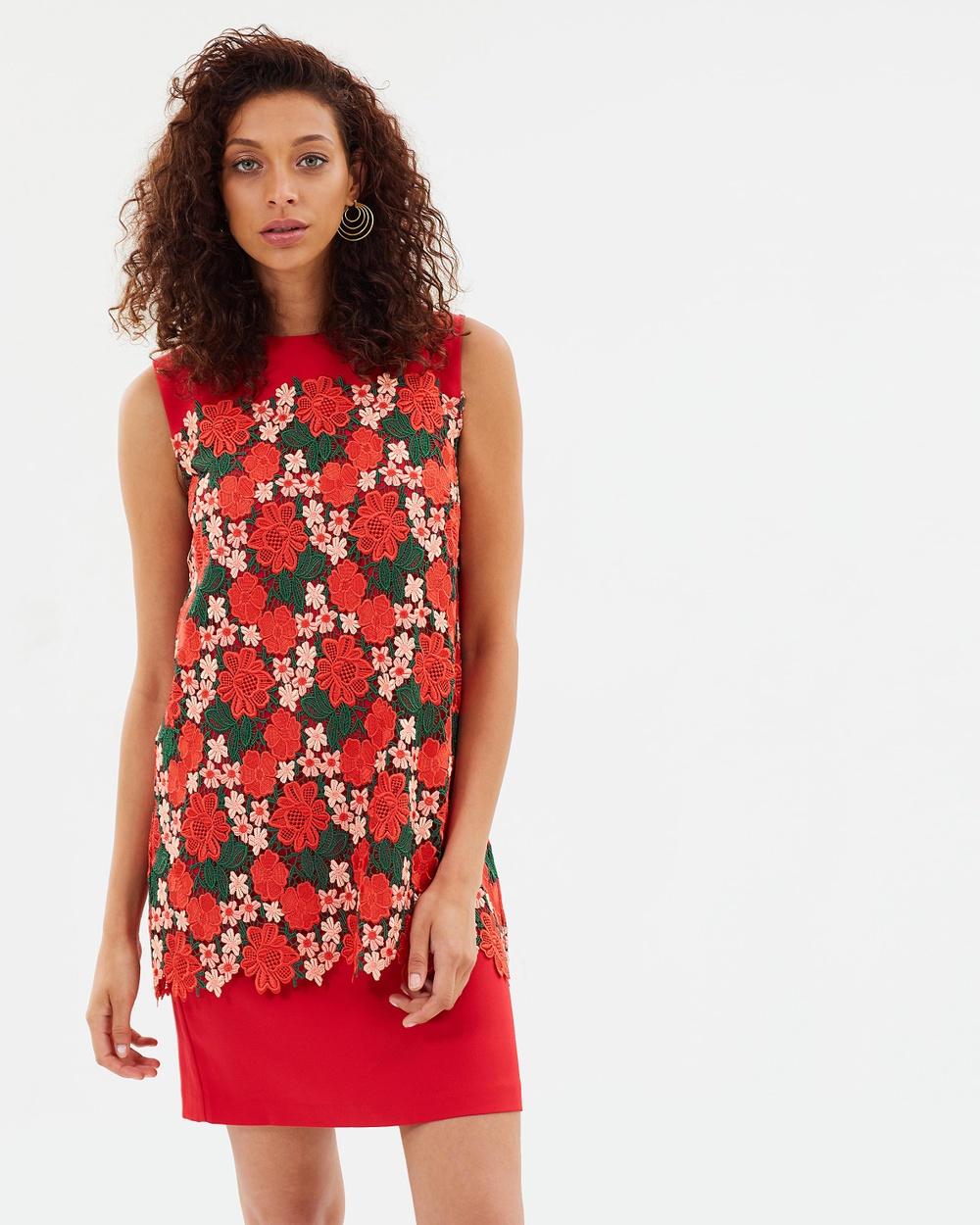 Sportmax Code Nebbie Layered Lace Shift Dress Dresses Red Nebbie Layered Lace Shift Dress