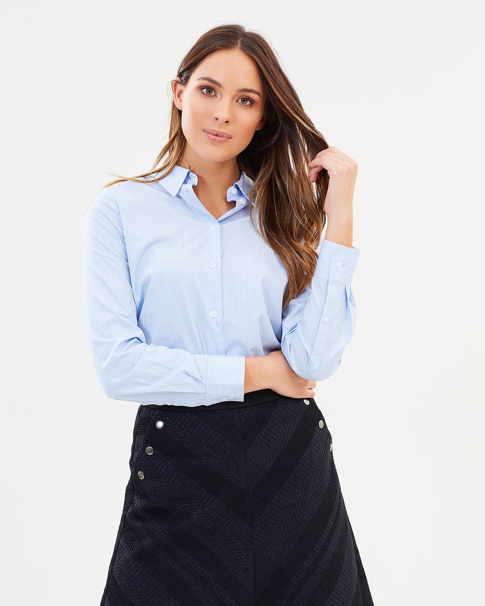 SABA Ivy Semi Fitted Shirt Tops Blue & White Ivy Semi-Fitted Shirt