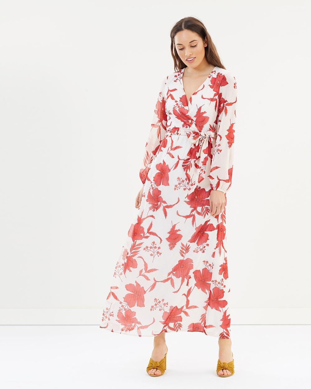 Dorothy Perkins Longline LS Maxi Dress Printed Dresses Red Longline LS Maxi Dress