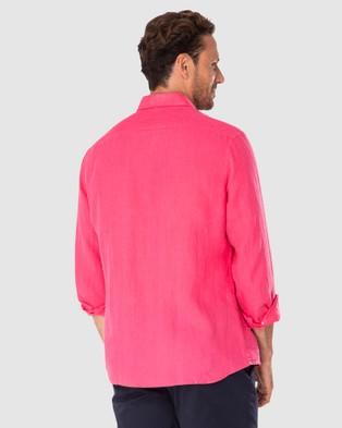 Australia Gazman Tailored Fit Linen Plain Long Sleeve Shirt - Shirts & Polos (Magenta)