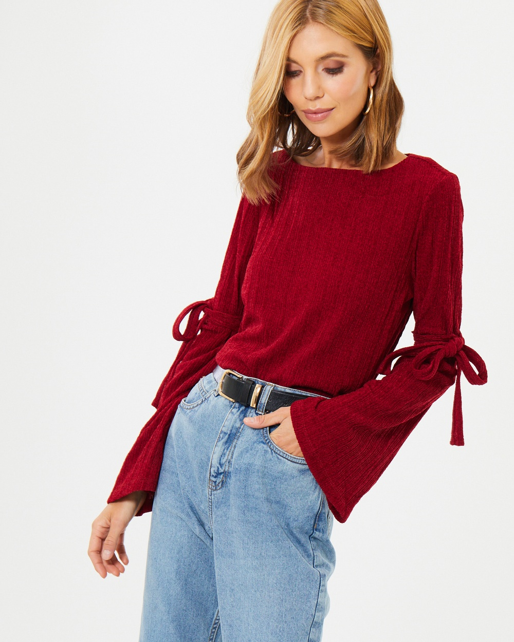Calli Riona Tie Sleeve Knit Top Tops Red Riona Tie-Sleeve Knit Top