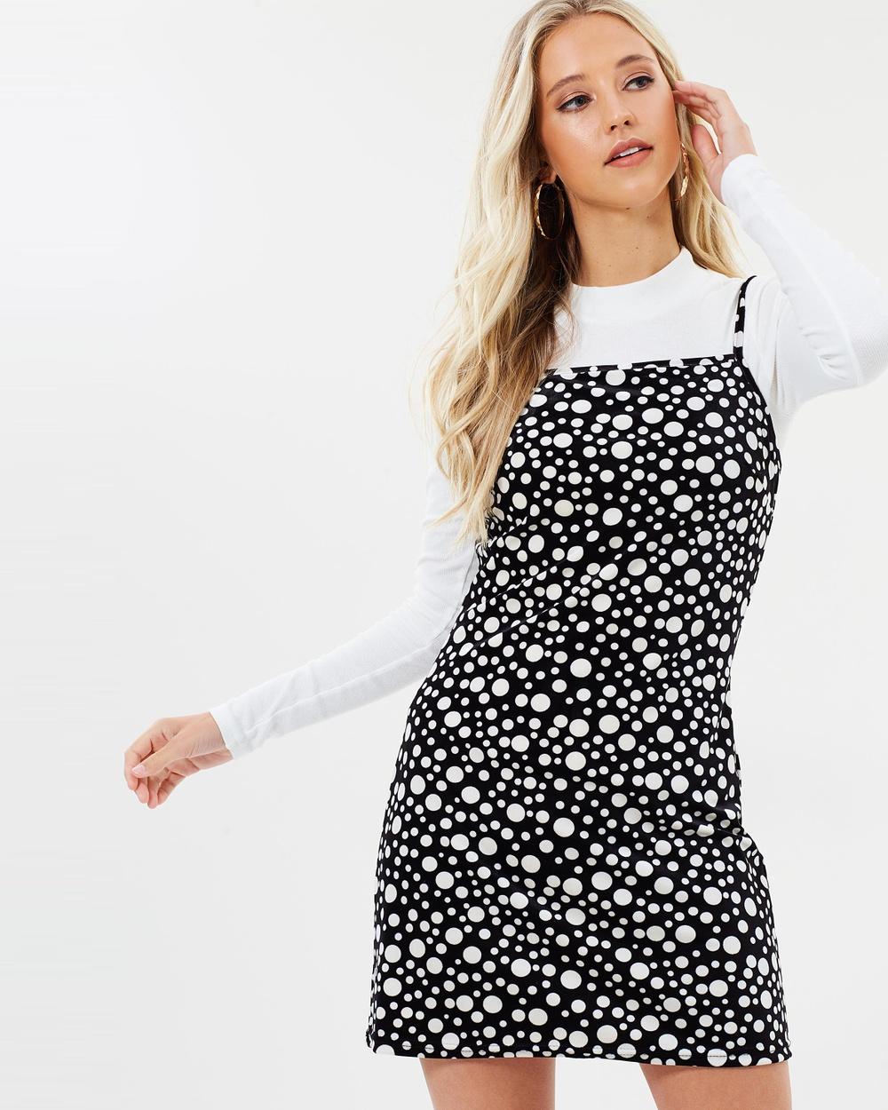Dazie Penny Polka Velvet Dress Printed Dresses Black Spot Penny Polka Velvet Dress