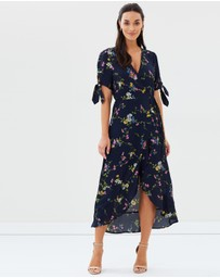 Oasis - Bouquet Bird Tie Sleeve Wrap Midi Dress
