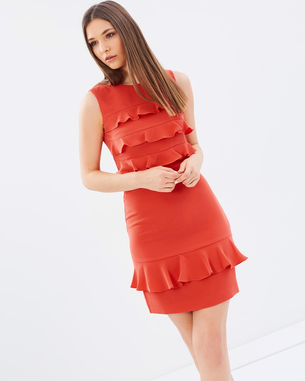 Whistles Bea Frill Front Dress Dresses Coral Bea Frill Front Dress