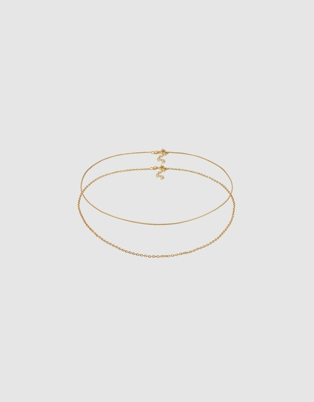 Women Necklace Set Choker Basic Minimalist 925 in Sterling Silver Gold Plated