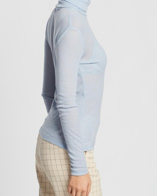 SABA Emilia Merino Wool Roll Neck Top - Tops (blue)