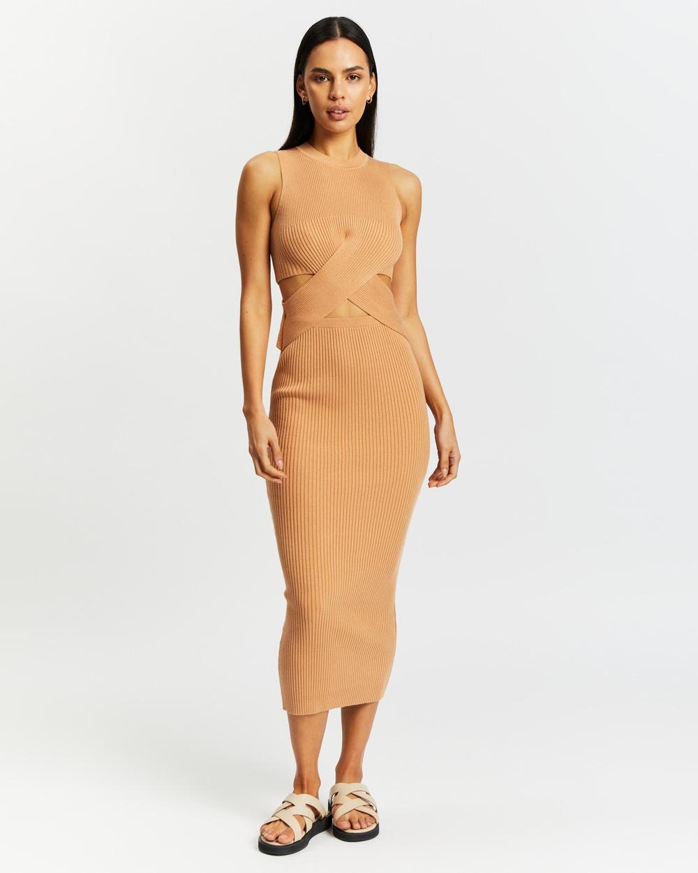 AERE Twist Waist Knit Dress Bodycon Dresses Caramel