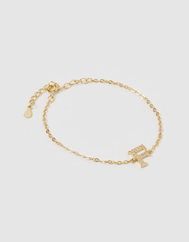 Women Crystal Letter F Bracelet