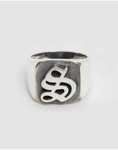 Stolen Girlfriends Club Gothic Stamp Signet Ring Sterling Silver