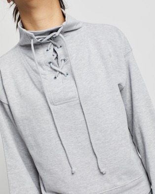 Missguided High Neck Tie Detail Long Sleeve Sweat - Sweats (Grey)