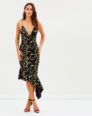 Talulah – Objective Midi Dress Black & Floral Embroidery