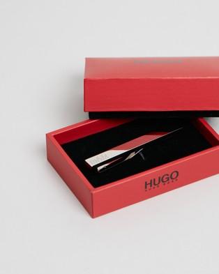 HUGO Fix Fastening Tie Clip with Engraved Logo - Tie Bars (Silver)