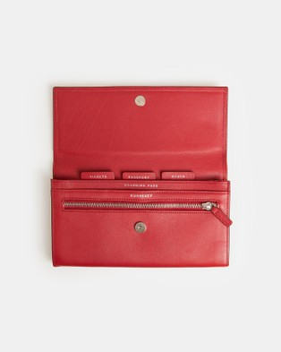 Globite Leather Travel Clutch with RFID and Luggage Red