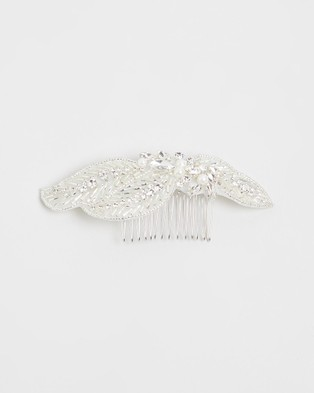 Ivory Knot Nessa Hair Comb - Hair Accessories (Ivory & Silver)