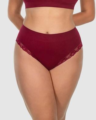 B Free Intimate Apparel Contour Lace High Cut Briefs   3 Pack - Bikini Briefs (Black, Red & Blue)