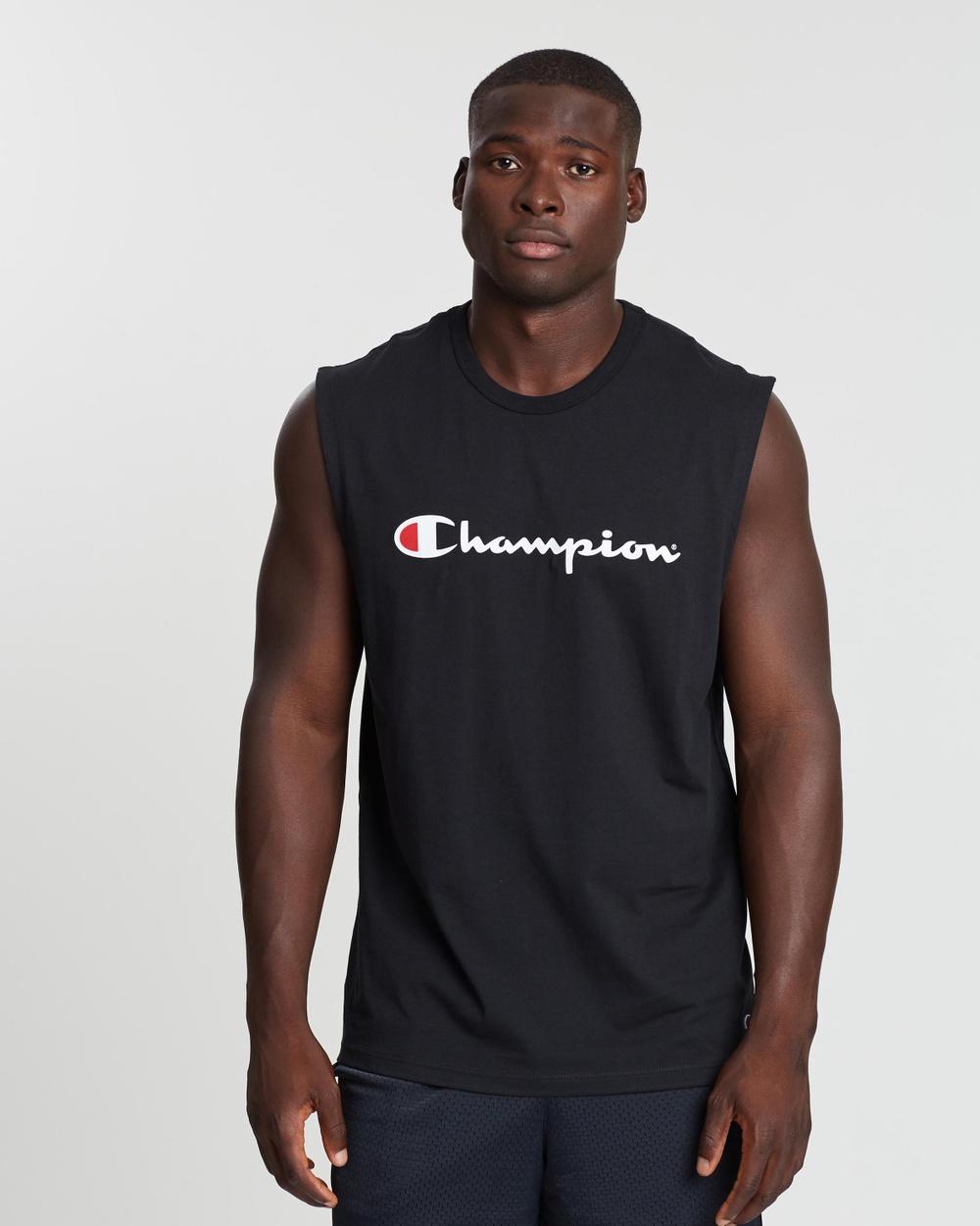 Champion Script Muscle Tank Tops Black Australia