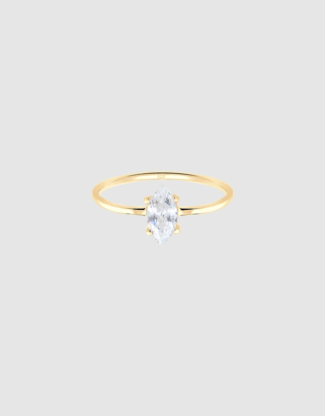 Women Ring Marquise Zirconia Minimal 925 Silver Gold Plated