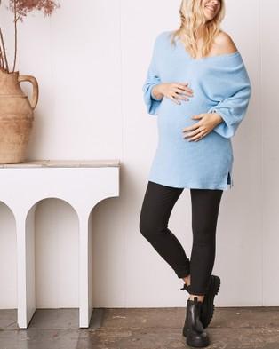 Angel Maternity Slim Cut Twill High Waist Pants - Pants (Black)