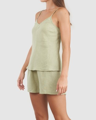 Amelius Grace Linen Cami and Short Set - All gift sets (Green)