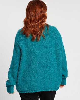 Atmos&Here Curvy Chanel Woolblend Brushed Knit - Jumpers & Cardigans (Teal)