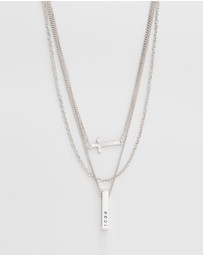 Icon Brand - 3 Separate Necklaces with Cross & Bar Charms