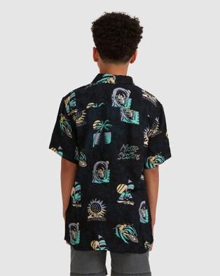Quiksilver Boys 8 16 Island Pulse Short Sleeve Shirt Shirts & Polos BLACK ISLAND PULSE 8-16