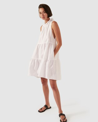 SABA SB Lila Linen Tiered Dress - Dresses (white)