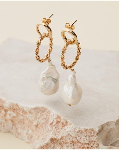 Joanna Laura Constantine Gold-plated Links Earrings With Dangling Pearls Brass Gold