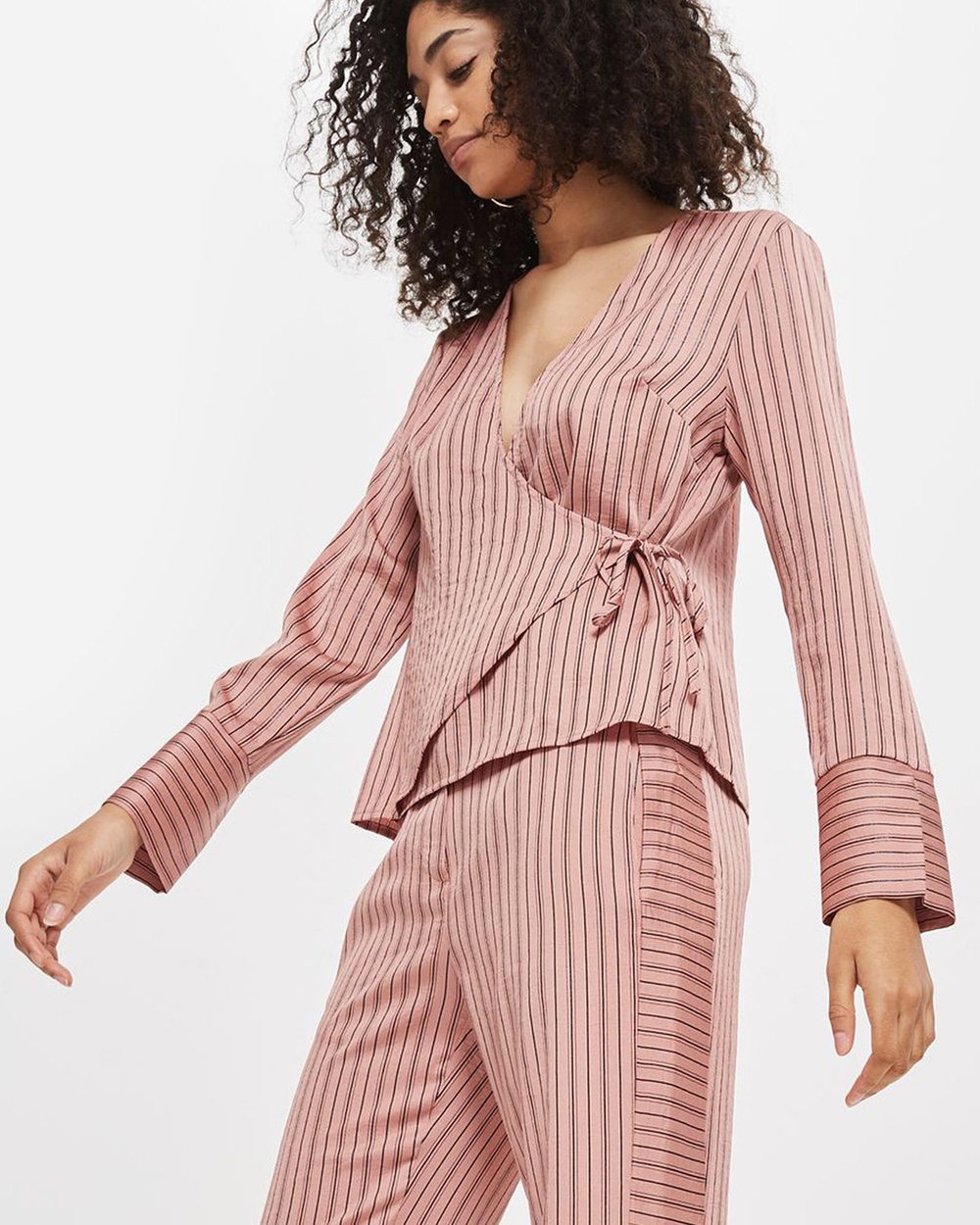 TOPSHOP Slinky Striped Wrap Blouse Tops Blush Slinky Striped Wrap Blouse