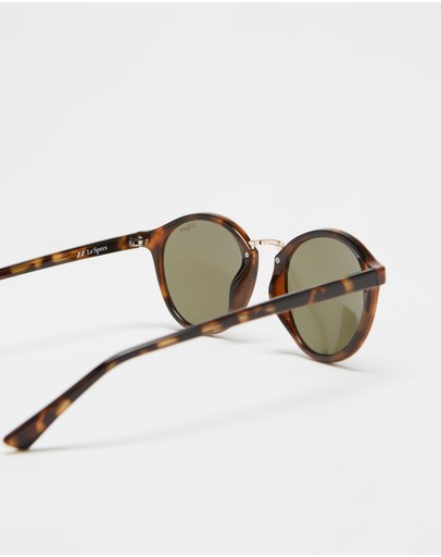 Le Specs Paradox Brown Tort Round Sunglasses Tortoiseshell