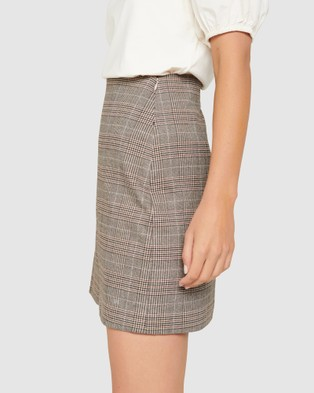 Forever New Rylie Check Aline Mini Skirt - Skirts (Brown Check)