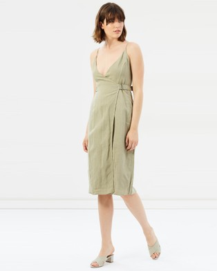 Third Form – The Catch Linen Wrap Dress green