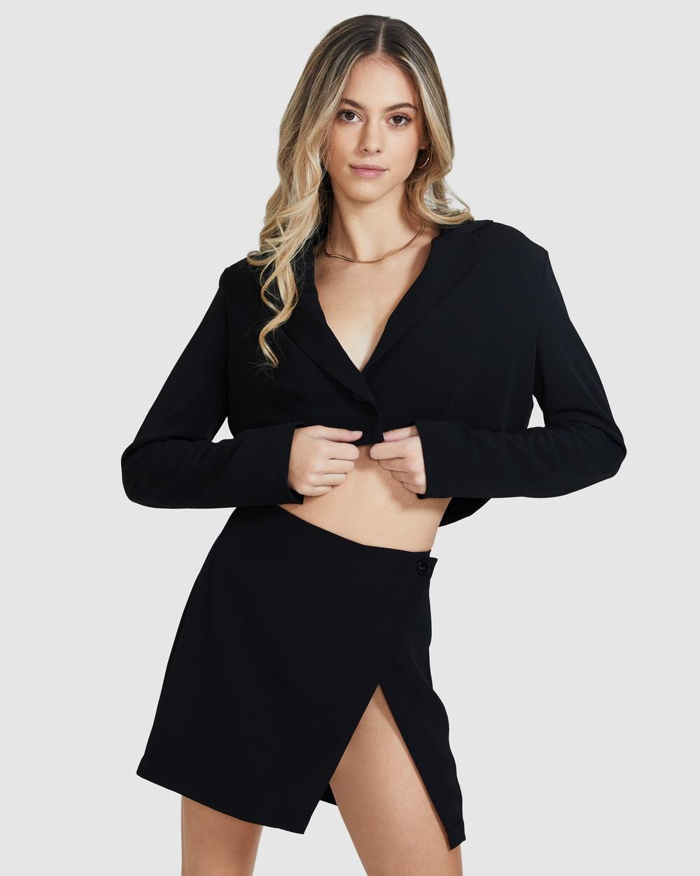 Alice In The Eve Rachel Crop Blazer Coats & Jackets BLACK