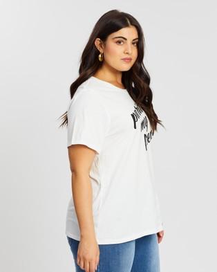 Atmos&Here Curvy Frenchy Tee - T-Shirts & Singlets (White & Black Print)